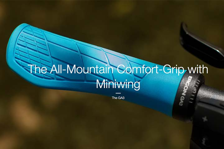 GA3 : The All-Mountain Comfort-Grip with Miniwing from Ergon Bike, designed in Koblenz, Germany